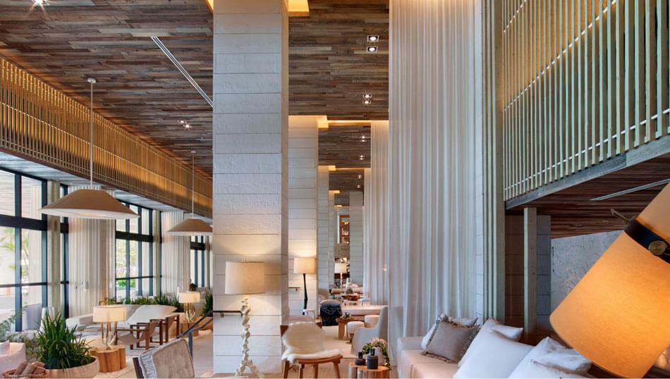 1 Hotel in Miami, Florida is cladded with TerraMai's Lost Coast Reclaimed Redwood Paneling