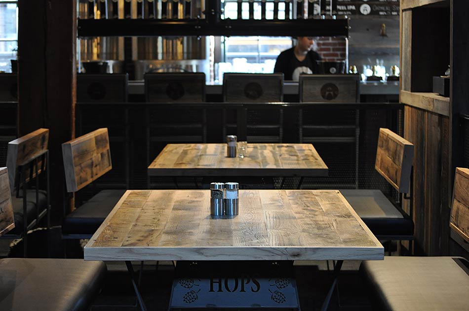 Reclaimed Oak Tabletops at Bridgeport Brewery in Portland, Oregon