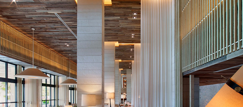 1 Hotel in Miami uses reclaimed redwood paneling for ceilings