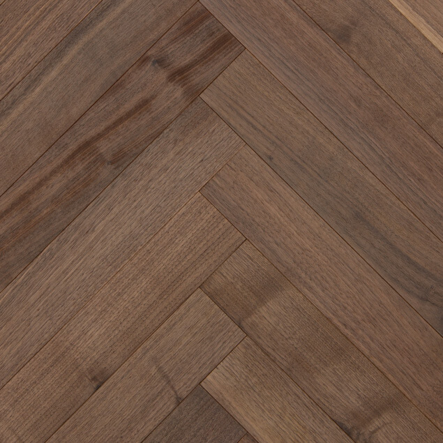 Reclaimed Walnut Herringbone Paneling with Clear Oil Finish